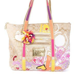COACH BEIGE SIGNATURE POPPY GRAFFITI GLAM TOTE